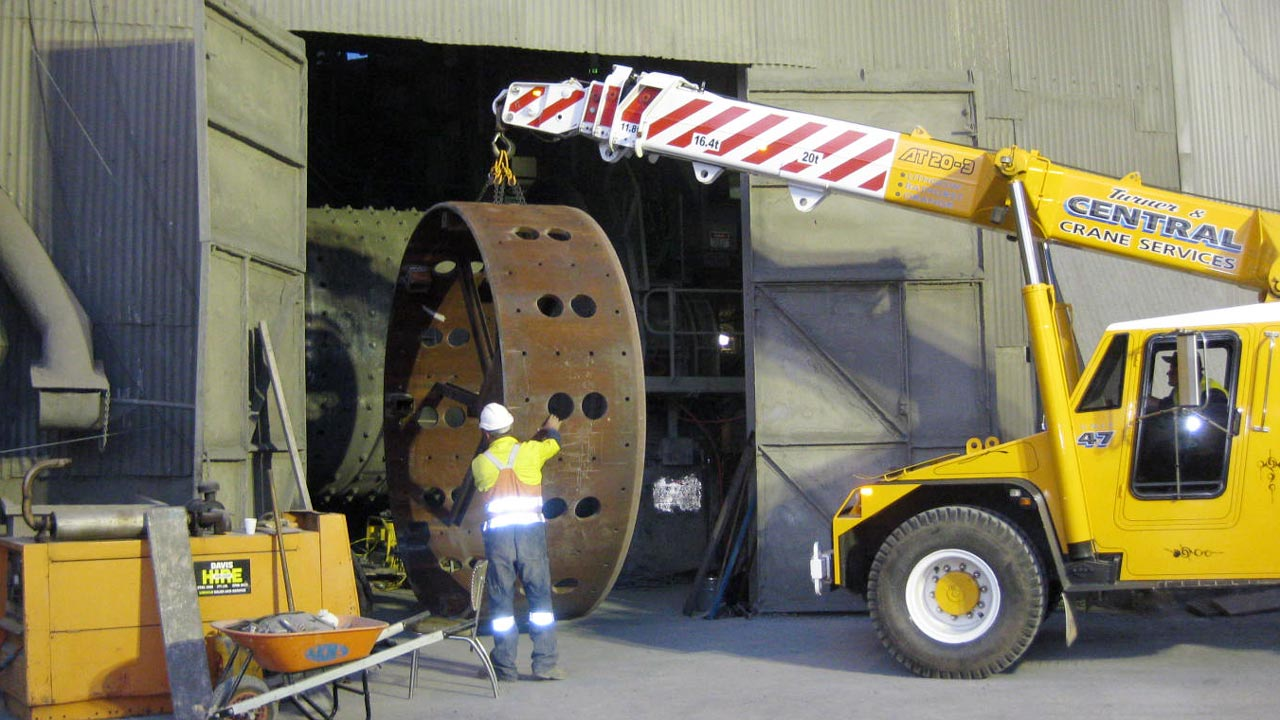 Installing a section of shell in a Cement Mill